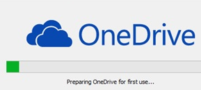 OneDrive preparing for first use