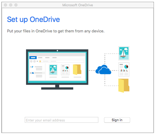 Sign in to OneDrive Next Gen Sync App